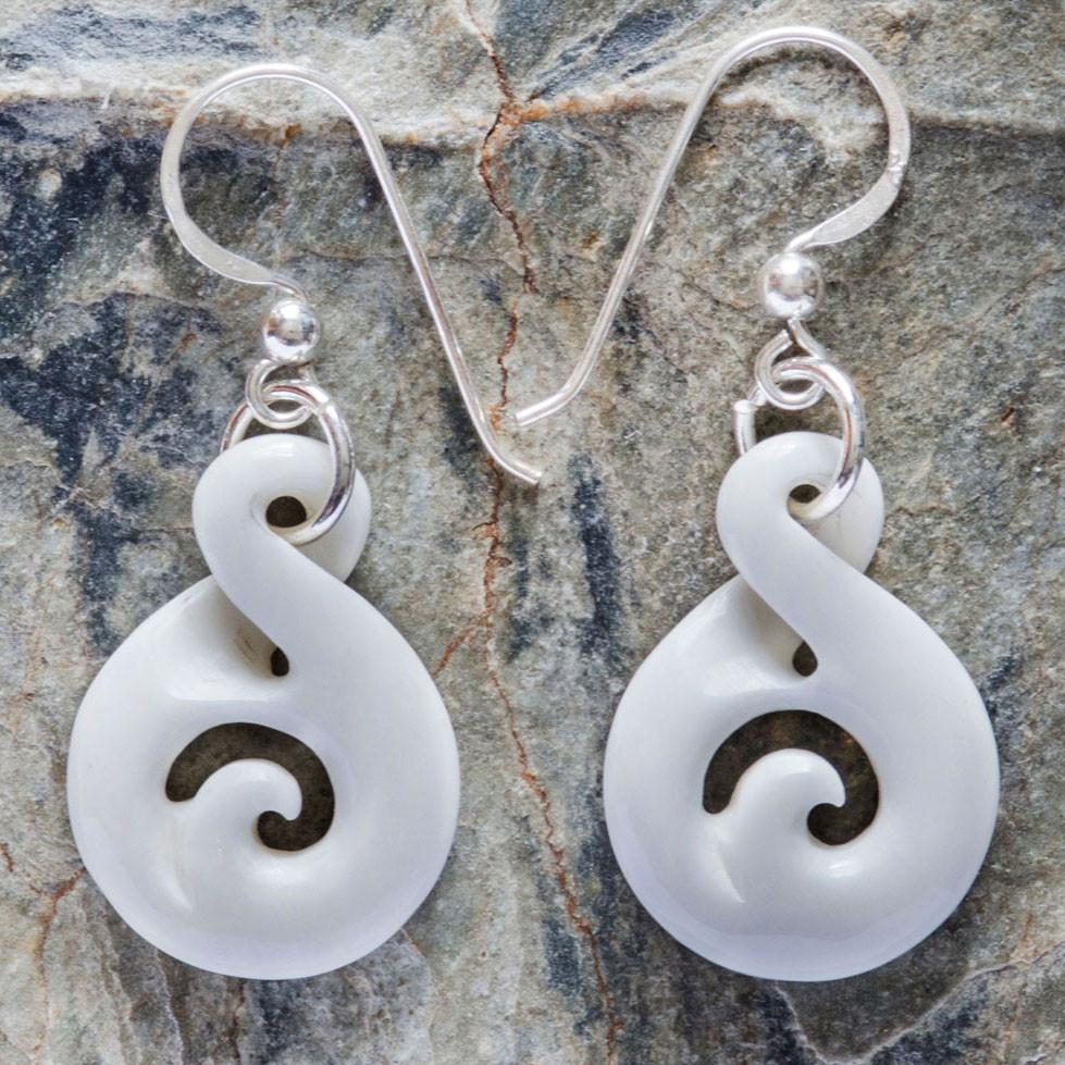 Tiny Bone Twist Koru Earrings - Kiwi Collections
