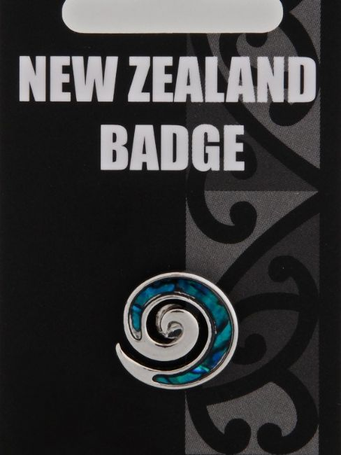 Blue Paua Koru Badge - Kiwi Collections