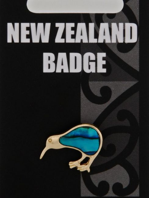 Paua Gold Kiwi Badge - Kiwi Collections