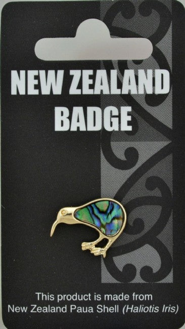 Natural Paua Gold Kiwi Badge - Kiwi Collections