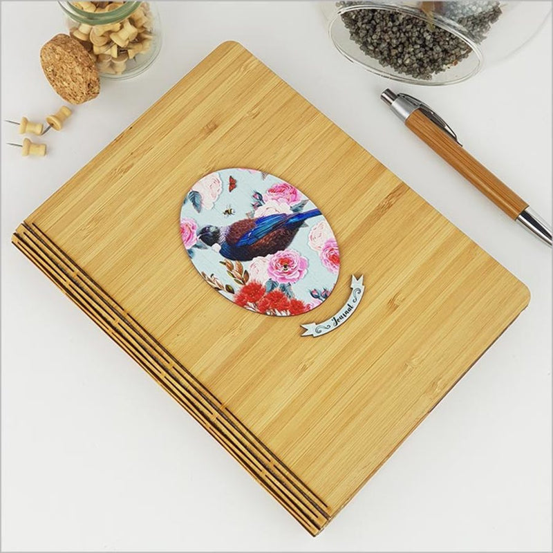 Bamboo Journal: Printed Floral Oval Tui