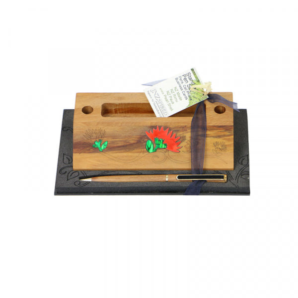 BUSINESS CARD/PHONE HOLDER & PEN POHUTUKAWA - Kiwi Collections