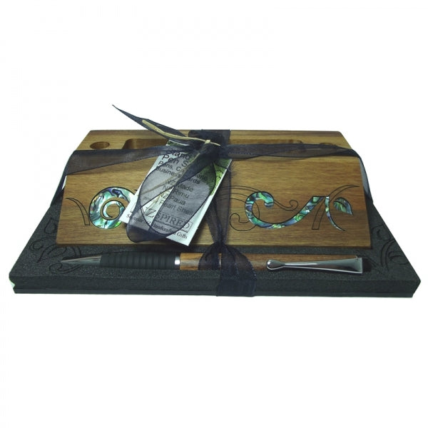 BUSINESS CARD/PH HOLDER & PEN SET FLORAL - Kiwi Collections