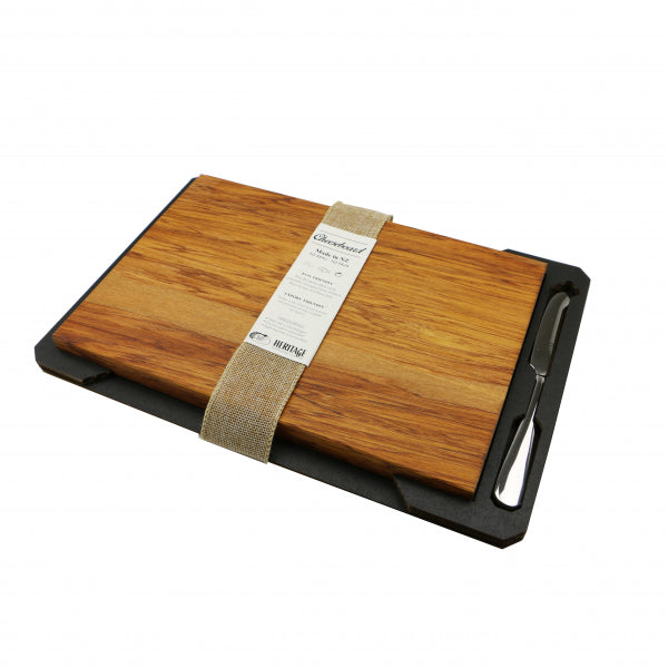 CHEESE BOARD, RIMU - S/S KNIFE, LARGE - Kiwi Collections