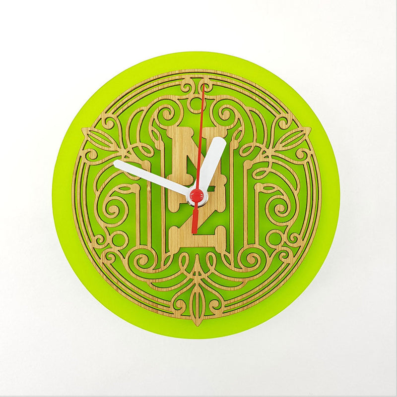 Clock: Deco NZ (Bamboo+Lime Green Acrylic) - Clocks