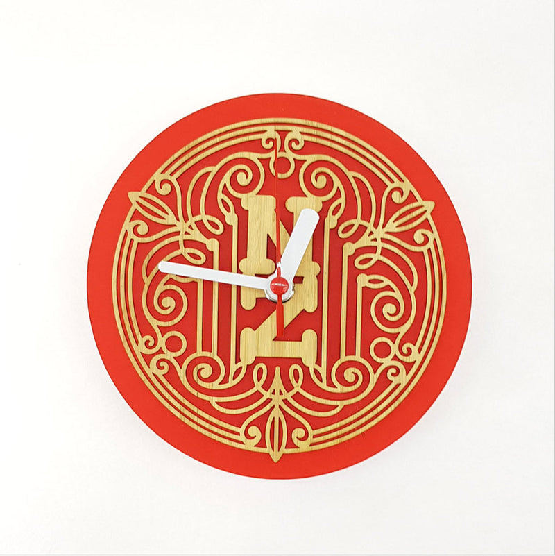 Clock: Deco NZ (Bamboo+Red Acrylic) - Clocks