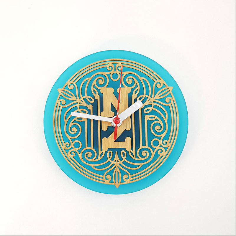 Clock: Deco NZ (Bamboo+Teal Acrylic) - Clocks