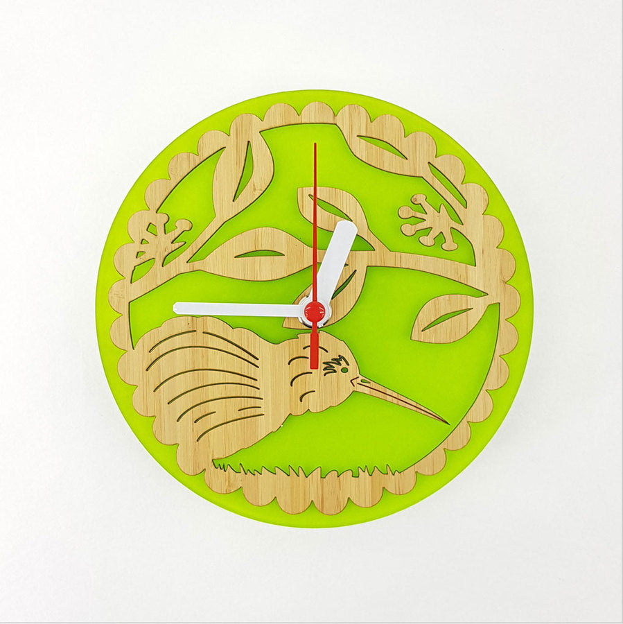 Clock: Kiwi on Pohutukawa (Bamboo+Lime Green Acrylic) - Clocks