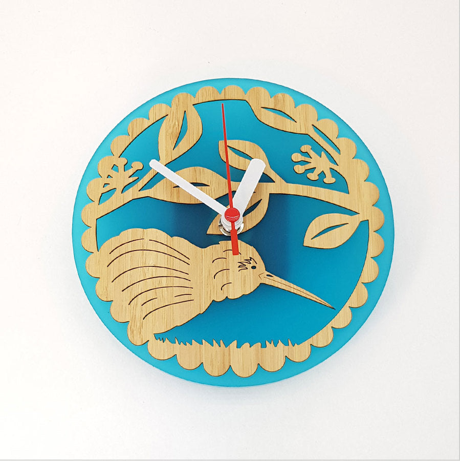 Clock: Kiwi on Pohutukawa (Bamboo+Teal Acrylic) - Clocks