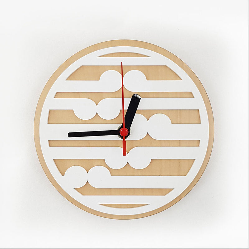 Clock: Koru Pattern (Silver Beech+White Acrylic) - Clocks