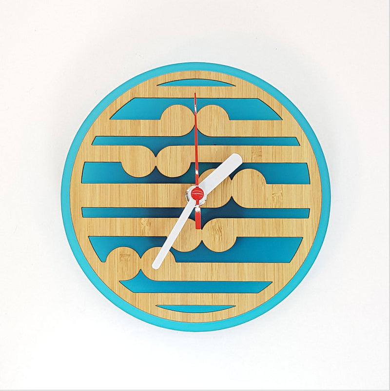 Clock: Koru Pattern (Bamboo+Teal Acrylic) - Clocks