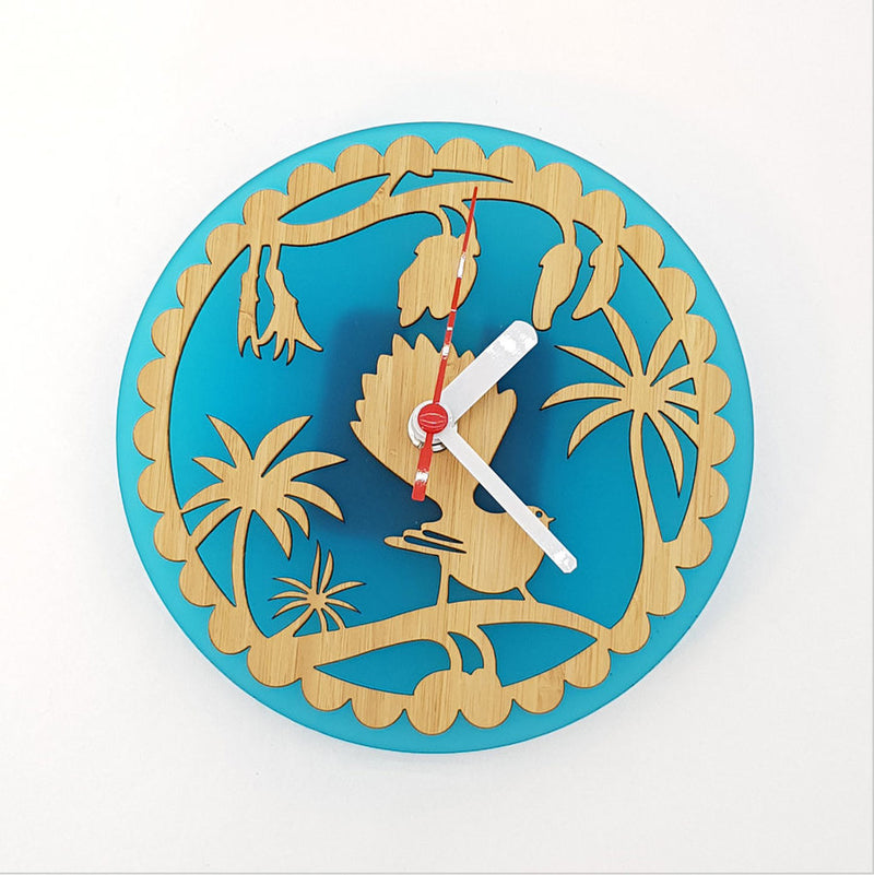 Clock: Fantail on Kowhai (Bamboo+Teal Acrylic) - Clocks