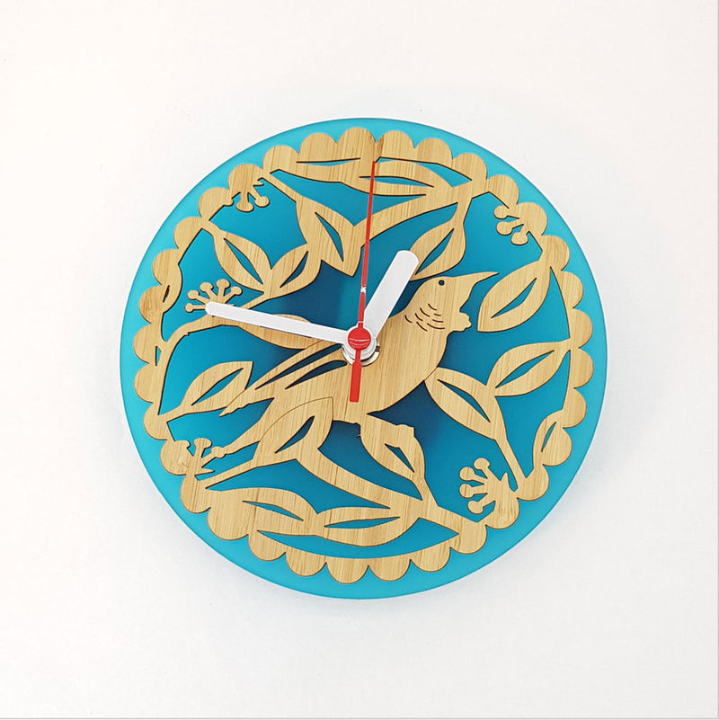 Clock: Tui on Pohutukawa (Bamboo+Teal Green Acrylic) - Clocks