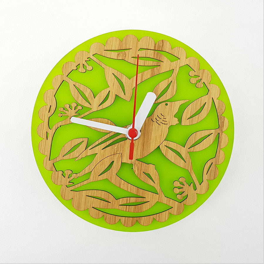 Clock: Tui on Pohutukawa (Bamboo+Lime Green Acrylic) - Clocks