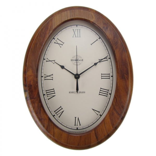 CLOCK, RIMU - OVAL, ROMAN - Kiwi Collections