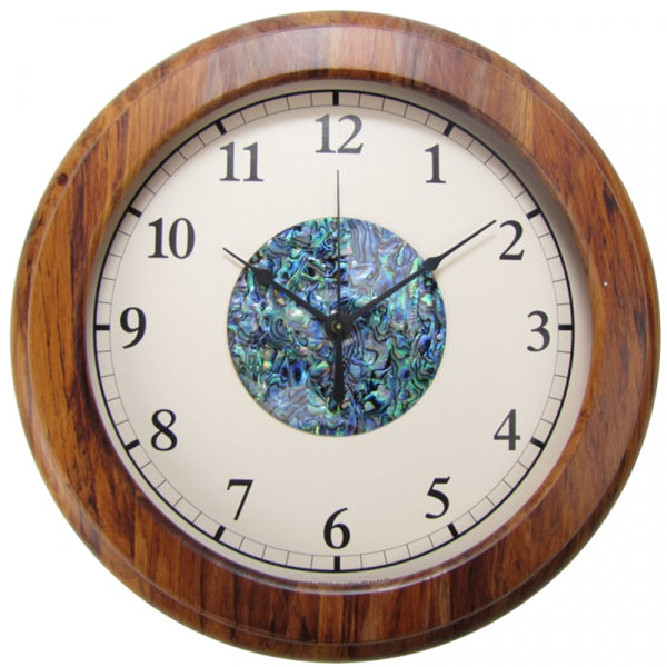 CLOCK, RIMU - PAUA HUB, ARABIC - Kiwi Collections