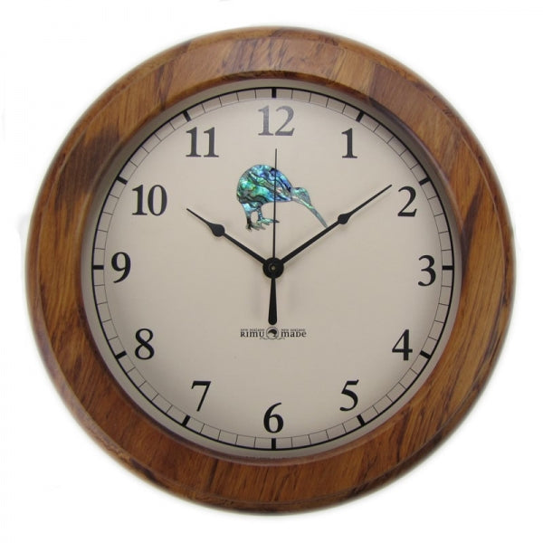 CLOCK, RIMU - PAUA KIWI, ARABIC - Kiwi Collections