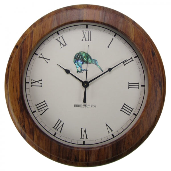 CLOCK, RIMU - PAUA KIWI, ROMAN - Kiwi Collections