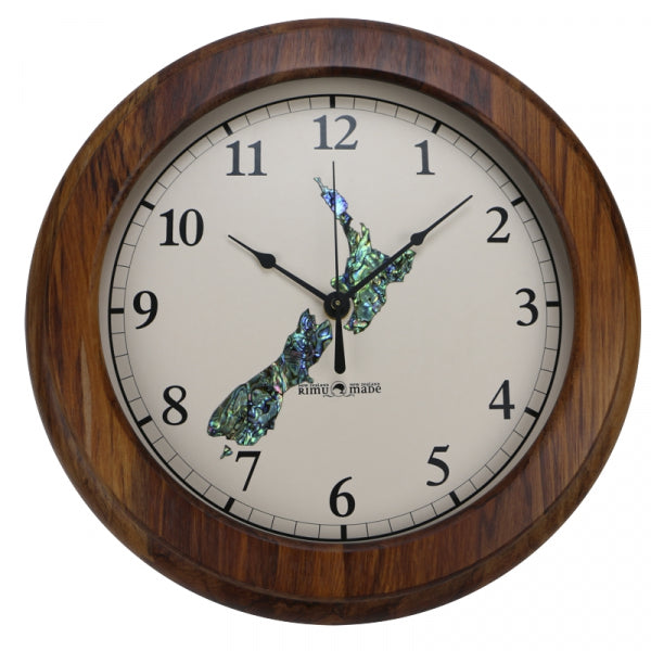 CLOCK, RIMU - PAUA NZ LARGE, ARABIC - Kiwi Collections