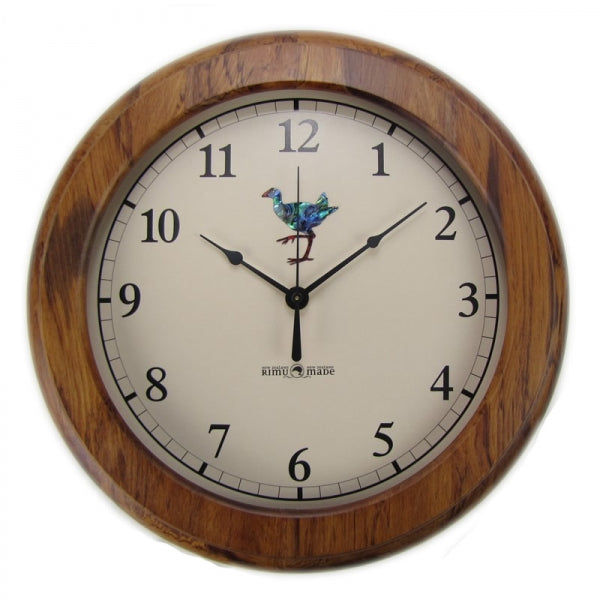 CLOCK, RIMU - PAUA PUKEKO, ARABIC - Kiwi Collections