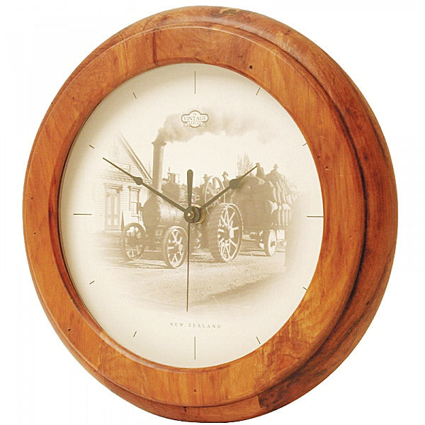 CLOCK, RIMU - TRACTION ENG VINTAGE - Kiwi Collections
