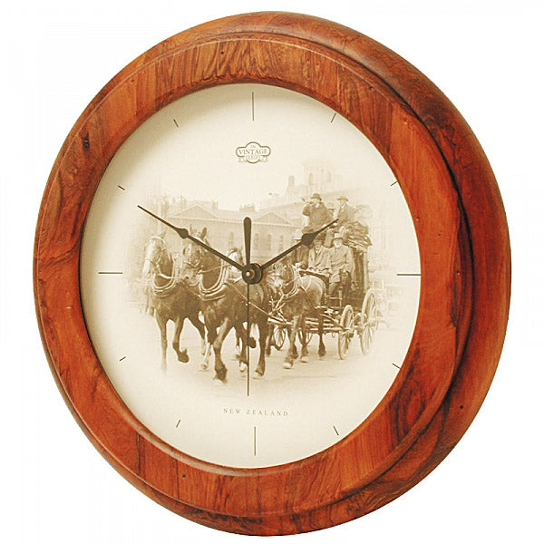 CLOCK, RIMU - WAGON VINTAGE - Kiwi Collections