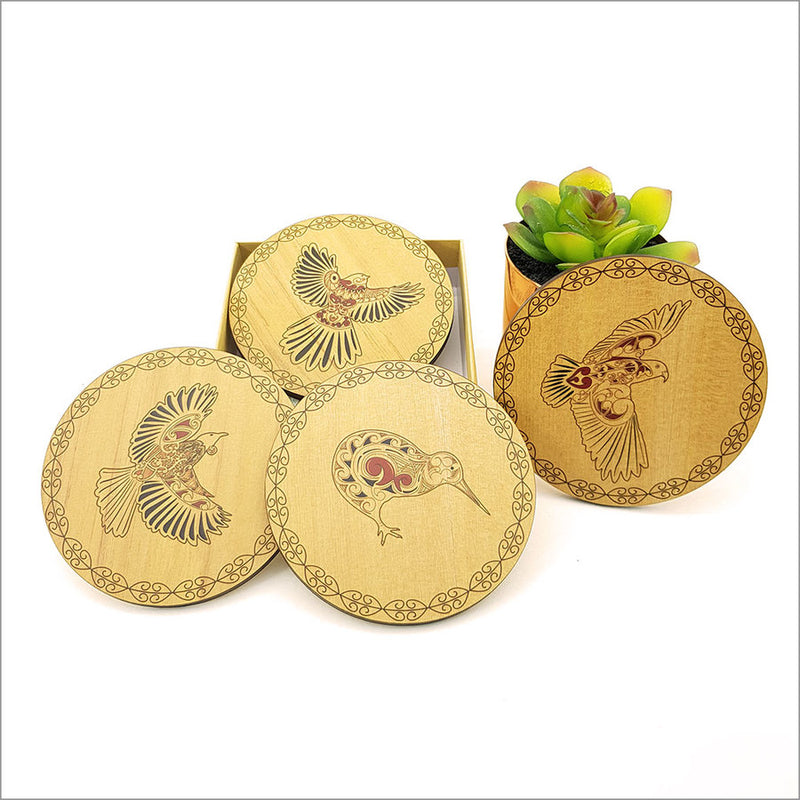 Printed Rimu Coasters Set: KWW Birds Set
