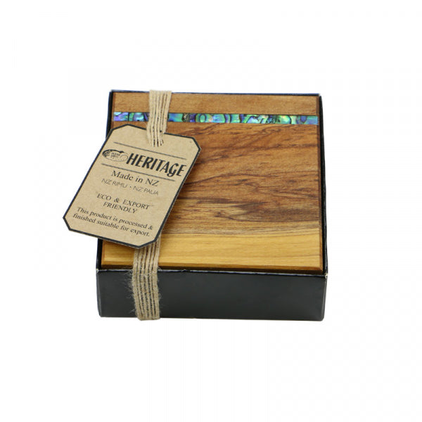 COASTER, RIMU - 4 IN BOX, PAUA STRIP - Kiwi Collections