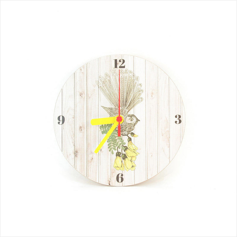 Clock : Fantail Light Wood Clock - Clocks