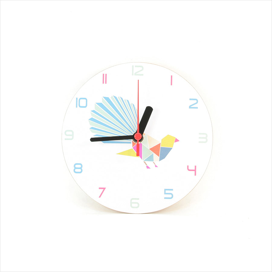 Fantail Geometric White - Clocks