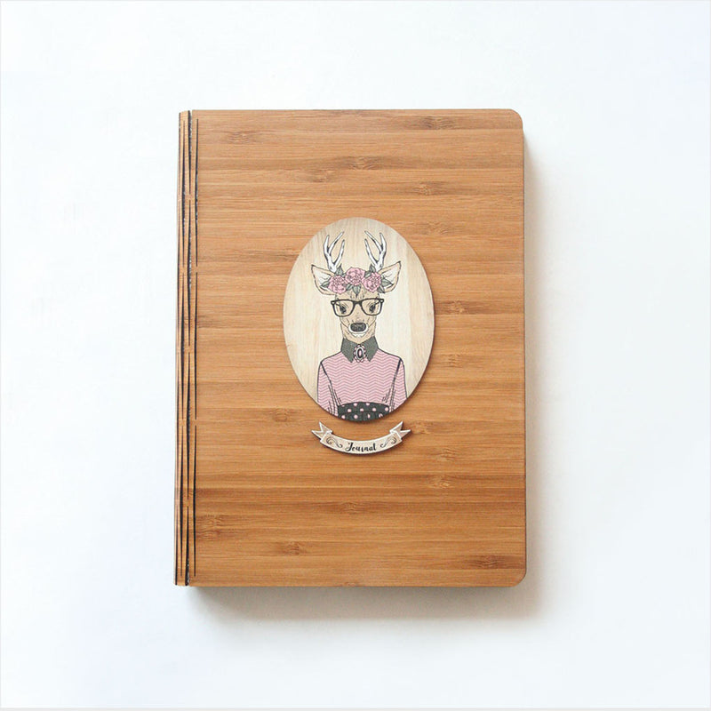 Bamboo Journal : Printed Deer Girl (Oval)