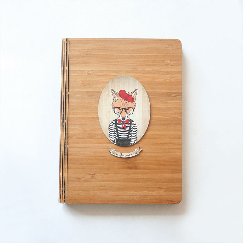 Bamboo Journal : Printed Girl Fox (Oval)