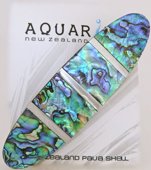 Paua/Steel Cracking Hairclip - Kiwi Collections