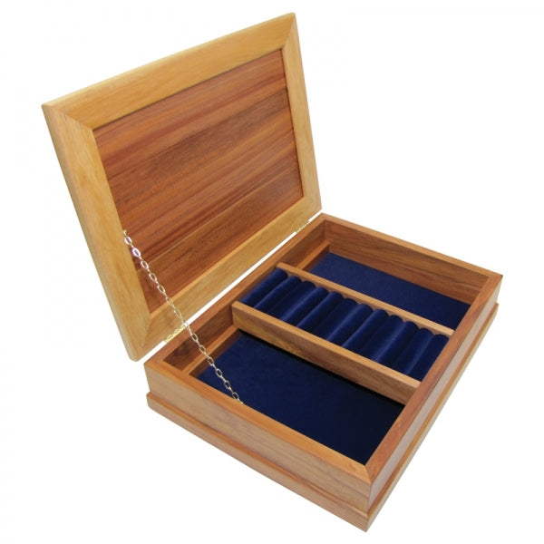 JEWELLERY BOX, RIMU - DELUXE, ROYAL BLUE - Kiwi Collections
