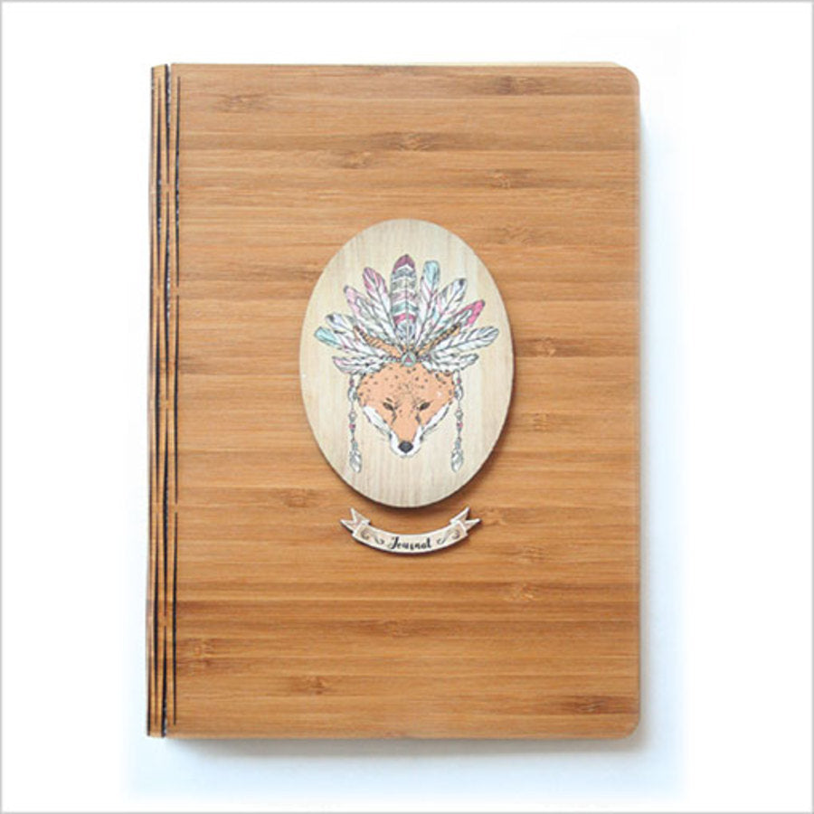 Bamboo Journal : Printed Tribal Fox (Oval)