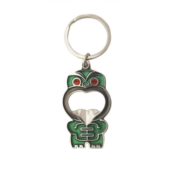 KEYRING - BOTTLE OPENER, POUPOU GREEN - Kiwi Collections