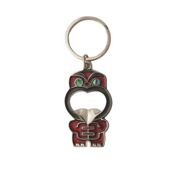 KEYRING - BOTTLE OPENER, POUPOU RED - Kiwi Collections