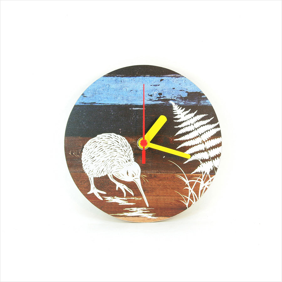 Clock: Aged Timber Kiwi - Clocks
