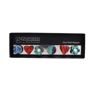MAGNET BOX - PAUA SHAPES & RED HEART (6)