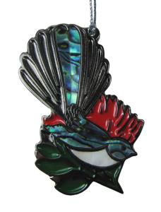 NZ BIRDS - DECORATION - FANTAIL & POHUTUKAWA