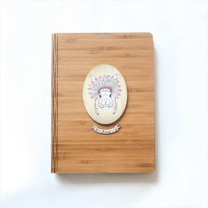 Bamboo Journal : Printed Tribal Bunny (Oval)