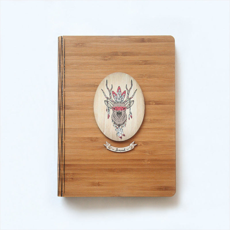 Bamboo Journal : Printed Tribal Stag (Oval)