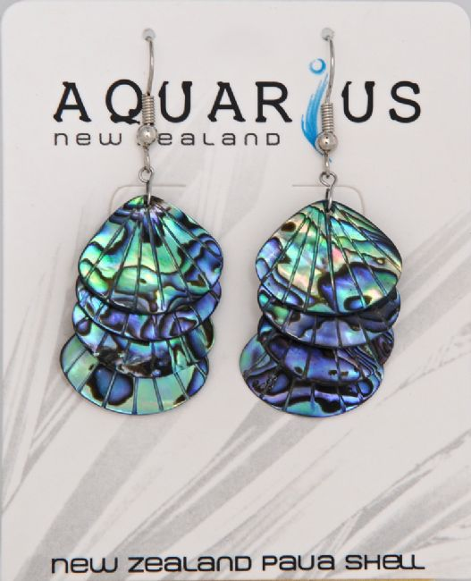 Paua Fan Shell 4 Drop - Hook - Kiwi Collections