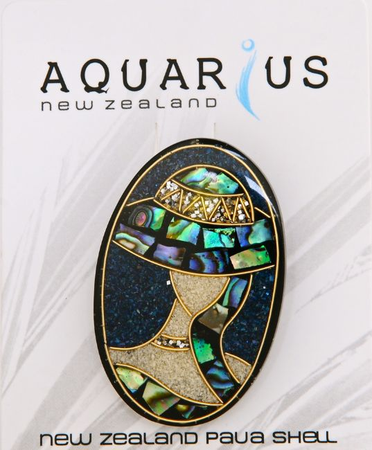 Paua/Ladies Hat Oval Brooch - Small - Kiwi Collections