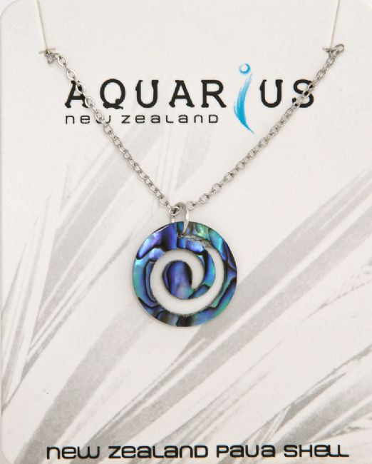 Paua Koru/Chrome Chain Pendant - Kiwi Collections