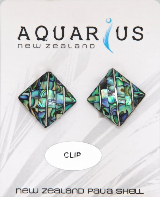 Small Paua Diamond Metal - Clip Er - Kiwi Collections