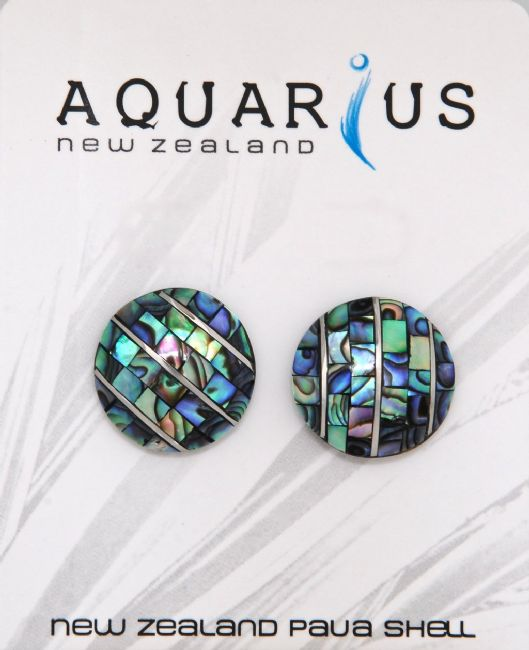 Small Paua Rnd/Metal Button - Stud Er - Kiwi Collections