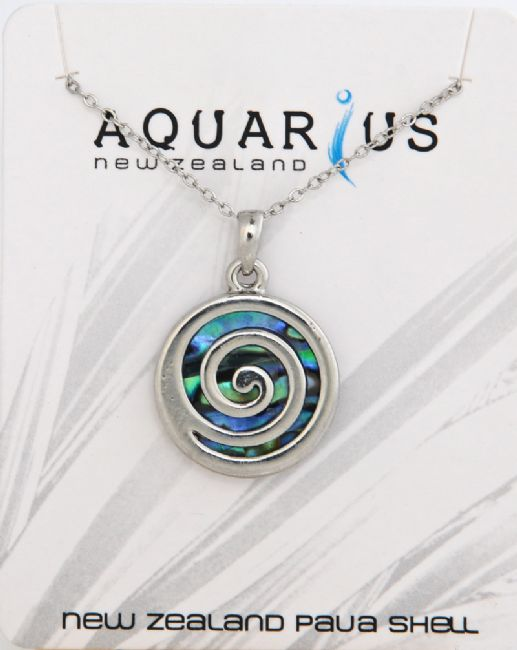 Large Paua Metal Spiral Pendant - Kiwi Collections