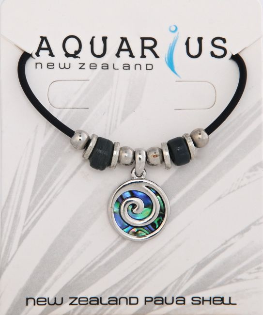 Paua/Metal Sm Spiral Choker - Kiwi Collections