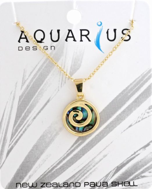 Gold Paua Metal Spiral Pendant - Kiwi Collections